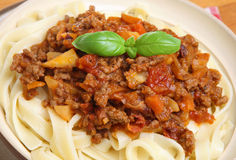 Bolognese Sauce with Tagliatelle Pasta Royalty Free Stock Photography