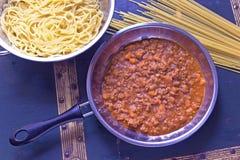 Bolognese saus van de spaghetti Royalty-vrije Stock Foto's