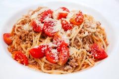 bolognese spagetti Arkivbild