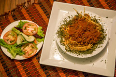 Bolognese spagetti och sallad i detalj Arkivbild