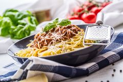 bolognese spagetti Pastaspagetti Bolognese med basilika och garnering i restaurang eller hem Arkivfoto