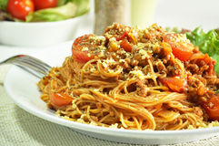 Bolognese Spaghetti. Spaghetti with meat and tomato sauce Stock Photography