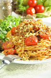 Bolognese Spaghetti. Spaghetti with meat and tomato sauce Royalty Free Stock Photography
