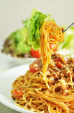 Bolognese Spaghetti. Spaghetti and vegetable on the fork Stock Images