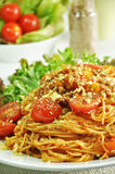 Bolognese Spaghetti -  Italian food. Bolognese Spaghetti in a white dish Stock Images