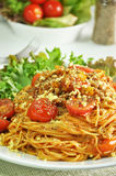 Bolognese Spaghetti -  Italian food. Bolognese Spaghetti in a white dish Royalty Free Stock Images