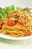 Bolognese Spaghetti -  Italian food. Bolognese Spaghetti in a white dish Royalty Free Stock Photo