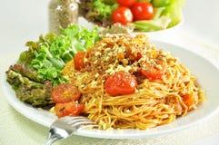 Bolognese Spaghetti -  Italian food. Bolognese Spaghetti in a white dish Royalty Free Stock Photos