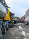 Trucks on a parking in Bologoye Stock Photo