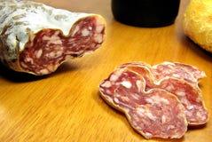 Boloney cortado, pão e vinho 2 Fotos de Stock