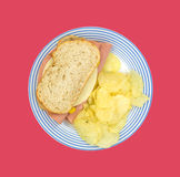 Boloney Sandwich On Plate With Chips Stock Images