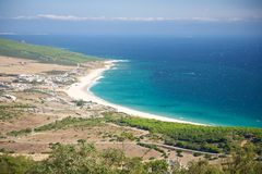 Bolonia beach from top stock images