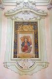 Bolonia - fresco del delle Febbri de Madonna por Cavazzoni 1572 en la iglesia Chiesa di San Domneico - la iglesia de St Dominic Foto de archivo