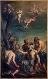 Bolonia - pintura del martirio que viene del apóstol (St Andrew) en la iglesia Chiesa di San Domingo - St Dominic Foto de archivo libre de regalías