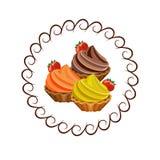 Bolos com morangos Fotografia de Stock Royalty Free