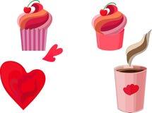 Bolos cor-de-rosa, café, corações ilustração royalty free