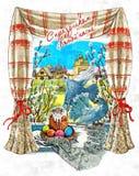 Bolos da Páscoa e ovos pintados na janela A inscrição Páscoa feliz na língua de russo '! 'Vida imóvel rústica ilustração royalty free
