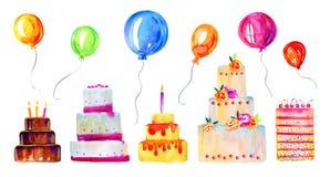 Bolos de aniversário com velas, decorações e balões Grupo estilizado tirado mão da ilustração do esboço da aquarela dos desenhos  ilustração stock