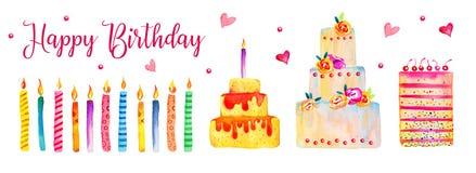 Bolos de aniversário e velas do grupo Elementos tirados da ilustração dos desenhos animados da aquarela mão estilizado ilustração stock