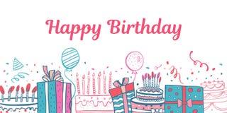 Bolos de aniversário estilizados, caixas de presente, balões Ilustração colorida tirada mão do esboço da garatuja do vetor dos de ilustração do vetor