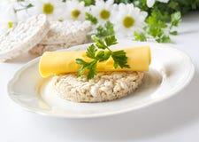 Bolos de arroz com as flores do queijo, da salsa e da camomila Imagens de Stock