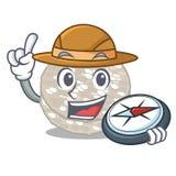 Bolos de arroz do explorador servidos na placa dos desenhos animados ilustração do vetor