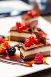 Bolos de chocolate triplos deliciosos fotografia de stock royalty free