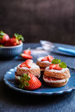 Bolos de esponja de Mini Victoria com o chantiliy e as morangos fotos de stock royalty free