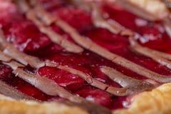 Bolos de queijo com o close up fresco das framboesas e do doce de framboesa imagem de stock