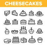Bolos de queijo doces, grupo linear dos ?cones do vetor da padaria ilustração stock