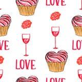Bolos de Valentine Seamless do marcador e teste padrão do amor Imagem de Stock