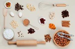 Bolos dos ingredientes Imagem de Stock