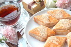 Bolos e chá chinês Foto de Stock