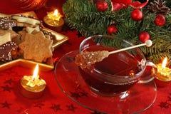 Bolos e chá do Natal Foto de Stock Royalty Free