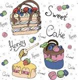 Bolos e bolos de frutas brilhantes Bolo ilustração stock