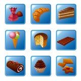 Bolos e grupo do ícone dos doces Fotografia de Stock