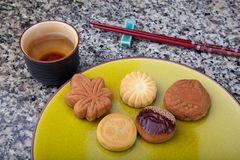 Bolos japoneses do chá Imagem de Stock