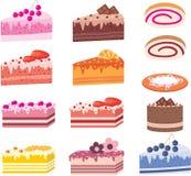 Bolos, partes de tortas, doces Foto de Stock Royalty Free