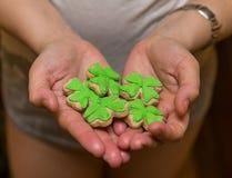 Bolos verdes do trevo cobertos com o dia delicioso e claro verde da mástique dos petiscos de St Patrick do ` s fotografia de stock