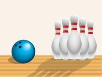 Bolos y bola Imagen de archivo libre de regalías