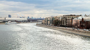 Bolotnaya embankment along canal of Moskva River Stock Images