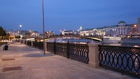 Bolotnaya Embankment and Drainage channel at night, Moscow city historic center, popular landmark. Russia