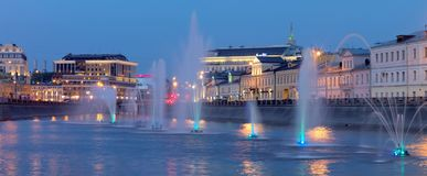 Fountains of Bolotnaya Square, Russia, Moscow stock images