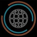 Bolpictogram, aardeplaneet - globale wereld, globaal teken - geïsoleerde kaart royalty-vrije illustratie