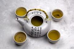 Bols de thé vert Photographie stock libre de droits