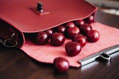 Bolsa à moda com cosméticos e as cerejas maduras fotografia de stock