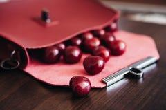 Bolsa à moda com cosméticos e as cerejas maduras Imagens de Stock Royalty Free