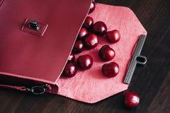 Bolsa à moda com cosméticos e as cerejas maduras Fotos de Stock Royalty Free
