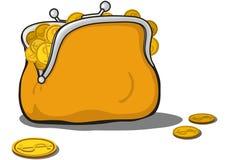 Bolsa alaranjada completamente de moedas de ouro ilustração stock