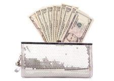 Bolsa com dólares americanos Fotografia de Stock